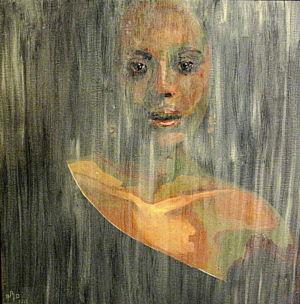 A l'abri des regards ( behind closed doors) 80x80 cm oil on canvas