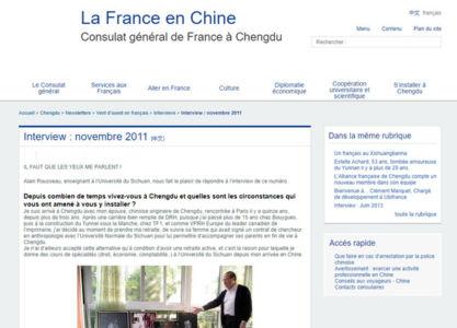 Interview dans le revue du Consulat de France à Chengdu 2011
