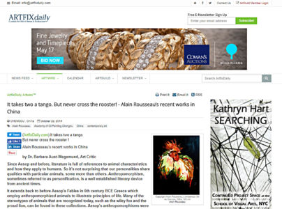 "Article on art critic on Alain Rousseau published in ""Artfix Daily"" New York USA  10 2014"