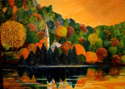 Automne en Forêt Noire (Autumn in Foret-Noire) 50x60cm oil on canvas