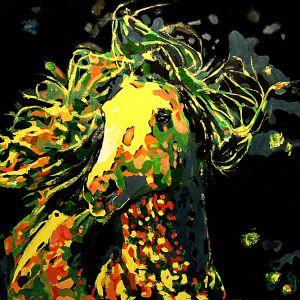 Cheveux aux vents  100x100cm    huile sur toile