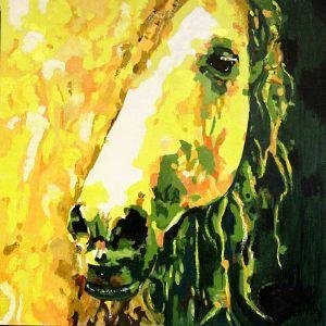 Crinière scintillante (  Sparkling mane ) 100 x 100 cm  oil on canvas