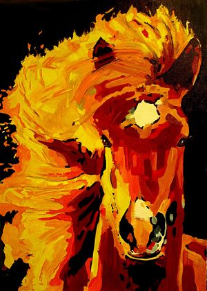 Crinière soleil   100X140cm  huile sur toile