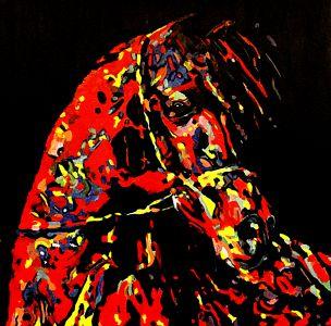 Cheval Diapré   100x100cm  huile sur toile