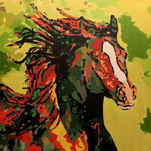 Pégase-ondoyant (Rippling-Pegaso) -100x100cm -oil on canvas