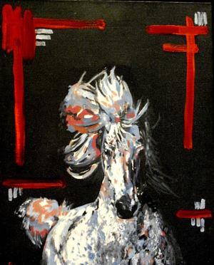 Pur en panache ( Purebred plume) 40x50 cm oil on canvas