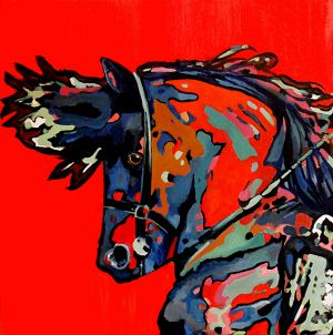 Cheval TANG ( Tang horse ) 100x100cm  oil on canvas