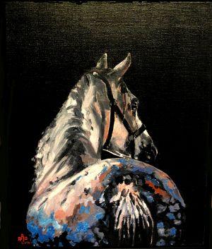 Tire au renard (Kick out horse) 40x50cm  oil on canvas