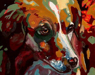 """"""" Mélancolie canine"""" 50x70cm  huile sur toile"""
