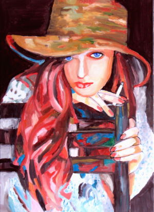 Cigarette rousse ( 红髪烟氛) 50x70 cm 亚麻油画