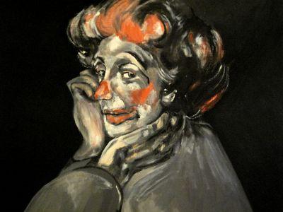 """""""Clown mélancolique"""" (melancholic clown) 40x50cm   oil on canvas"""