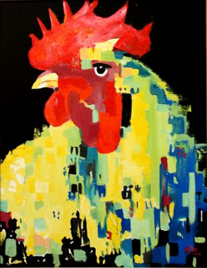 """Brave coq""  (Brave rooster) 70x90cm  oil on canvas"