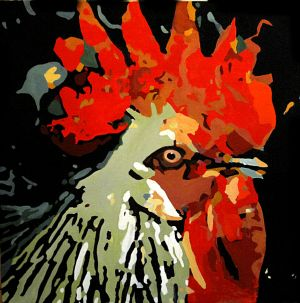 """""""Le roi des poules"""" 80x80cm huile sur toile"""