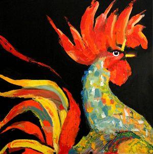 """""""Coq dragon"""" 80x80cm huile sur toile"""
