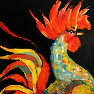 """Coq dragon""  ( Dragon rooster) 80 x 80cm - oil on canvas"