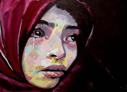 """""""Douleur guerrière"""" ( war pain) 40x50cm   oil on canvas"""