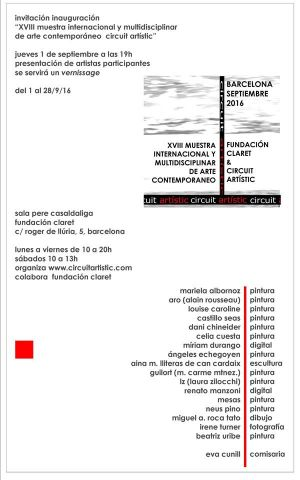 Exhibition 18th Muestra Internacional de Arte  Contemporeano - Fundacion Claret Barcelona (Spain) 09 2016