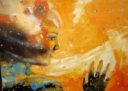 Femme derrière la vitre (woman behind the window) 40x50 cm oil on canvas