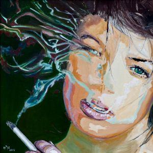 """ Adieu tristesse"" (Byebye sadness) 80x80cm   oil on canvas"