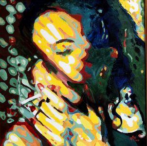 """Au soleil loin du tumulte"" (In the sun far from the tumult"" 80x80cm oil on canvas"