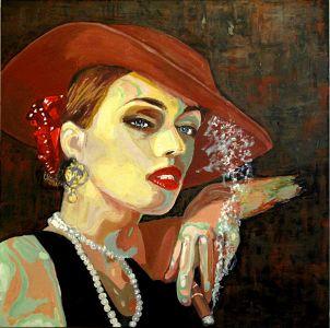 """Catogan rouge"" (Red catogan) 80x80cm   oil on canvas"