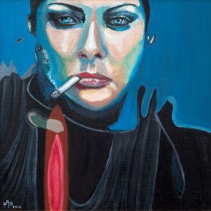 """Fumée bleue"" (Blue smoke)  80x80cm  oil on canvas"