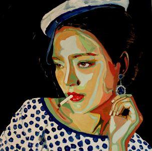"""""""La mousse"""" (The ship girl) 100x100cm  oil on canvas"""