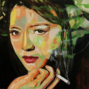 """ L'inquisitrice"" (The inquisitor) 100x100cm  oil on canvas"
