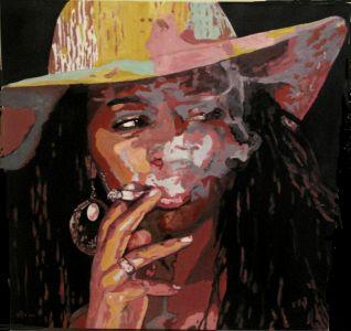 """""""Noire attitude"""" (Black attitude"""" 80x80cm  oil on canvas"""