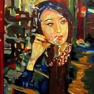 """Reflets d'espoir"" (Hope reflects) 100x100cm  oil on canvas"