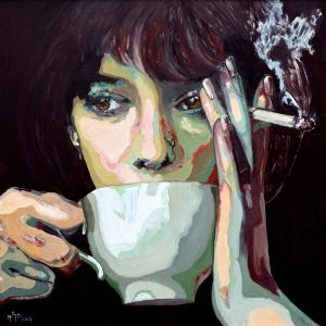 """""""Un café d'aube"""" ( early morning coffee)  80x80cm  oil on canvas"""