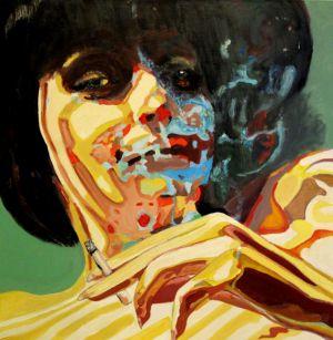 Volutes zébrés (Zebra curls) 80x80cm oil on canvas