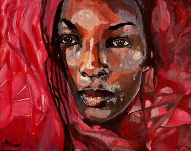 """""""Gaze africaine"""" (African gauze) 40x50cm oil on canvas"""