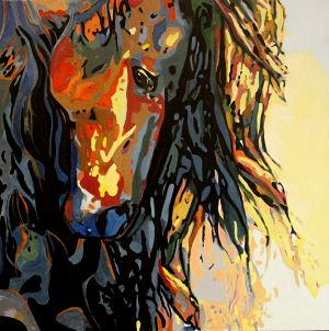 Introspection équine (Equine introspection) 100x100cm  oil on canvas