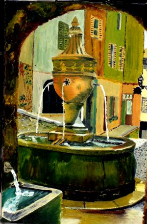 La fontaine (The fountain) 30x40cm  oil on canvas