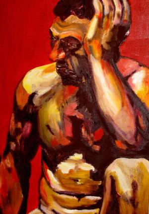 Le penseur nu (the naked thinker) 40x60 cm oil on canvas