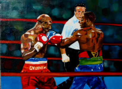 Mise au poing (fist fight ) 40x60 cm oil on canvas