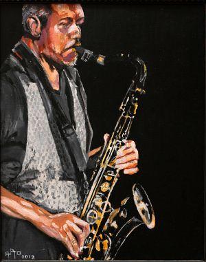 """Black sax"" 50x60cm   oil on canvas"