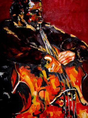 """Jazz contrebasse"" 60x80cm huile sur toile"