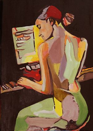 """""""Sonate chamarrée"""" 50x70cm huile sur toile"""