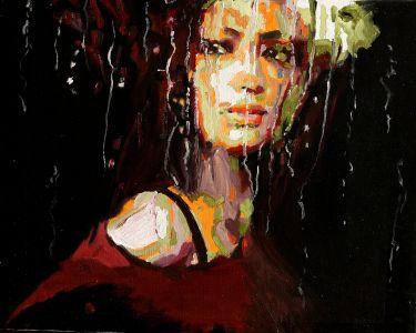 """""""Pleurs de pluie""""50x60cm huile sur toile"""