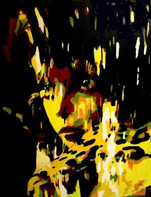 """Regard tigré"" (Tiger look) 80x80cm   oil on canvas"