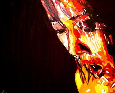 """""""Sous la douche"""" (Under the shower) 40x50cm  oil on canvas"""