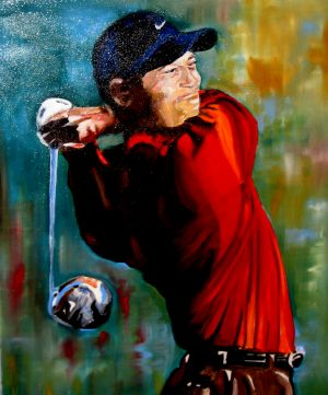 """""""Tiger""""  (Tiger Woods)70x90cm   oil on canvas"""