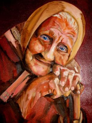 Vieille à la canne (old with a cane) 40x50 cm oil on canvas