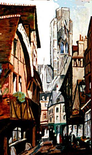 Vieux Rouen 30x40cm  huile sur toile