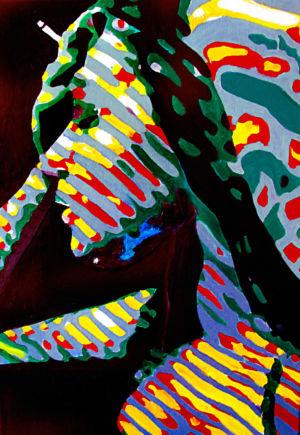 Zebra smoking 2020 oil on canvas 50x70cm